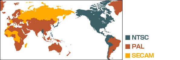 NTSC・PAL・SECAMのリージョンコード別に色分けされた世界地図